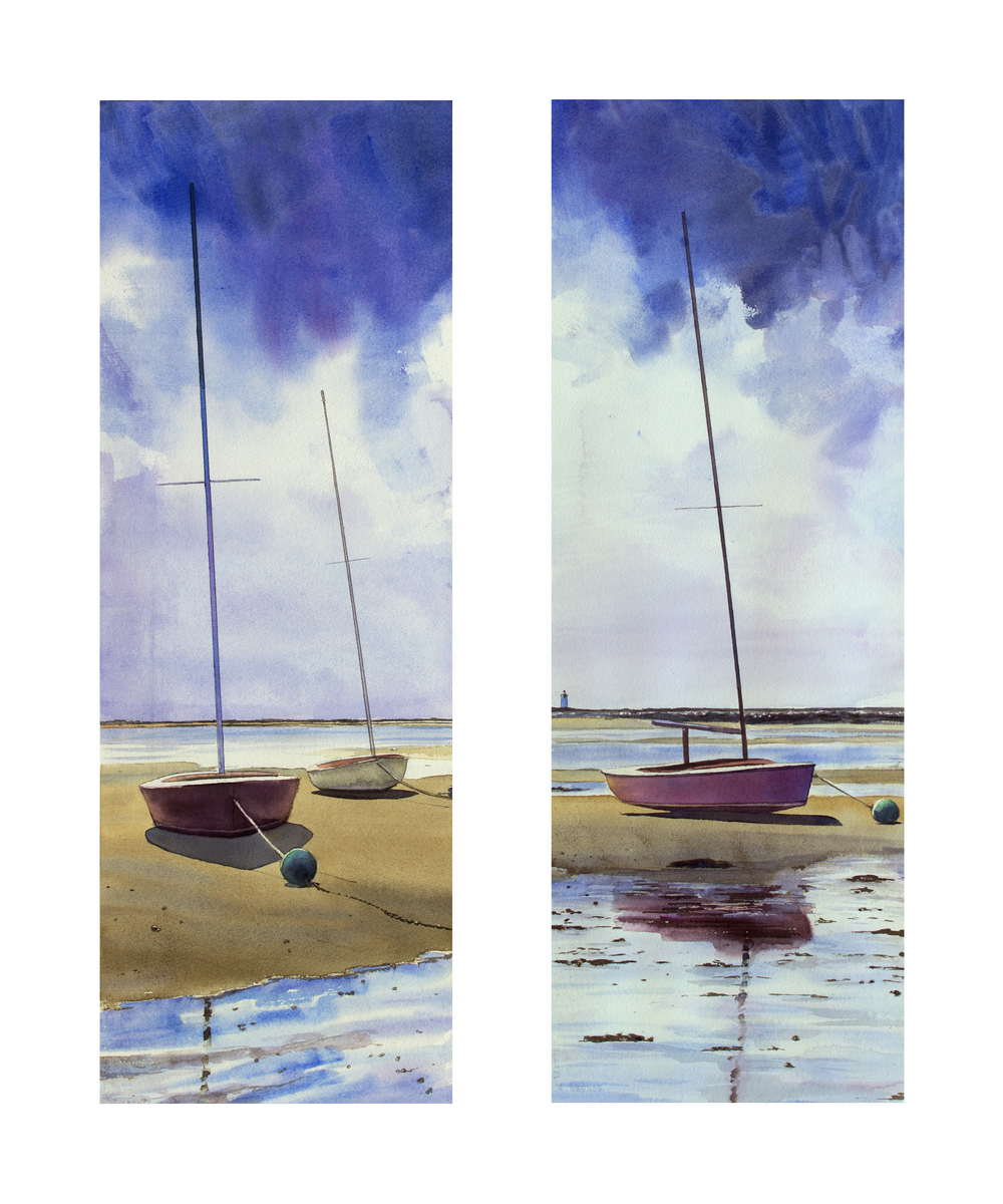 "Sandbars diptych 10"" x 29"" watercolor on paper"