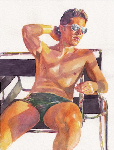 "In the Wassily Chair   12"" x 16"" watercolor on paper"