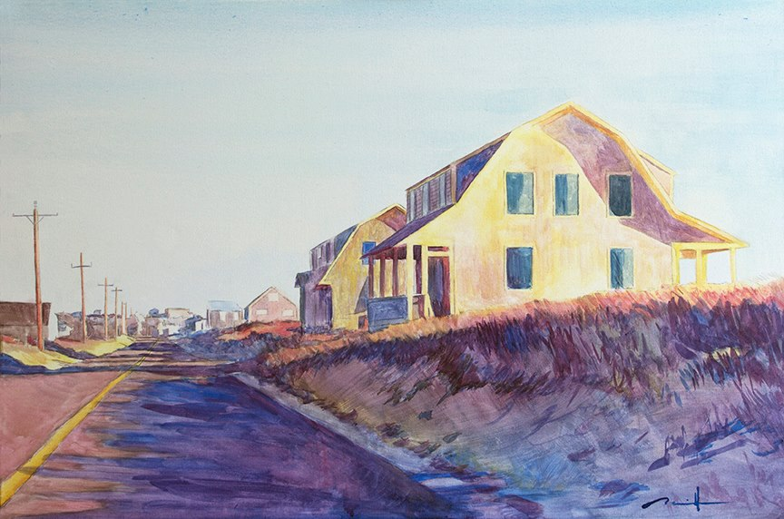 "6A Sundown   24"" x 36"" watercolor on canvas"