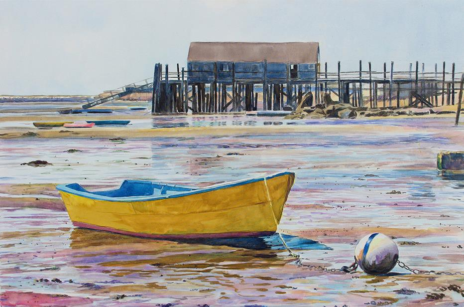 "Wet Harbor   24"" x 36"" watercolor on canvas"