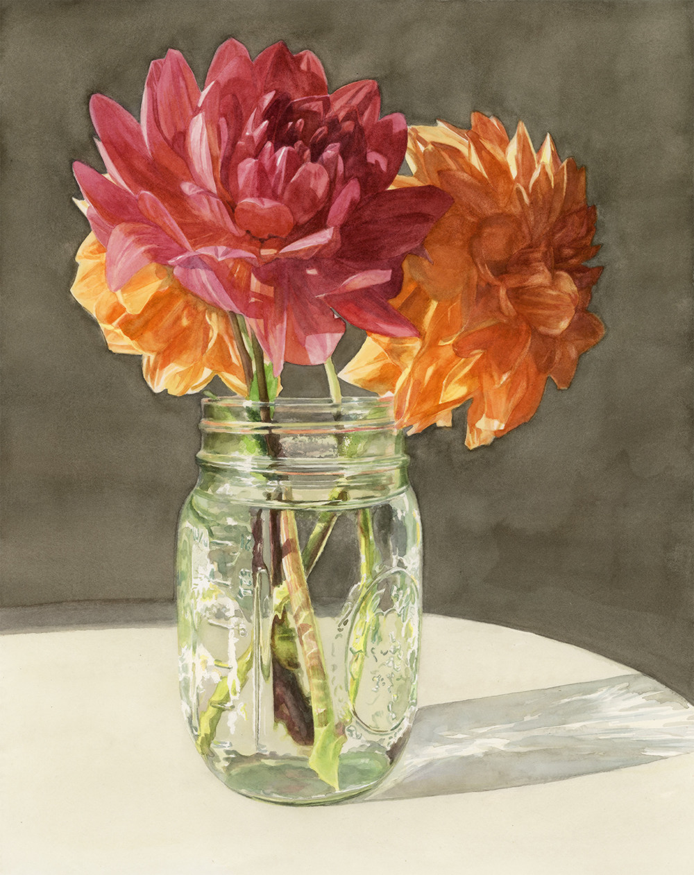 "Mason Jar Dahlias   15"" x 19"" watercolor on paper"