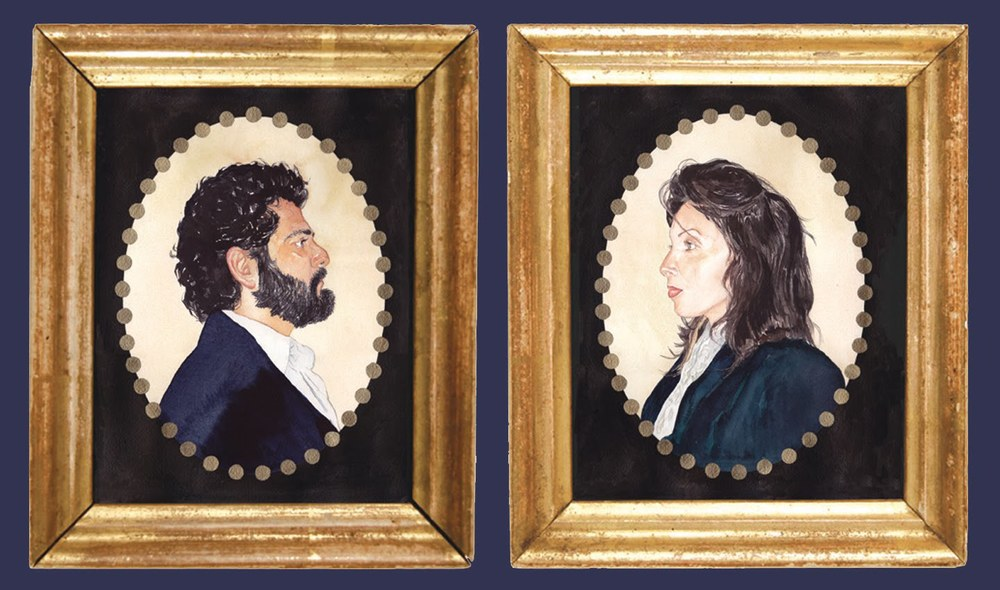 Wedding Portraits painted in Early American Style, watercolor on paper