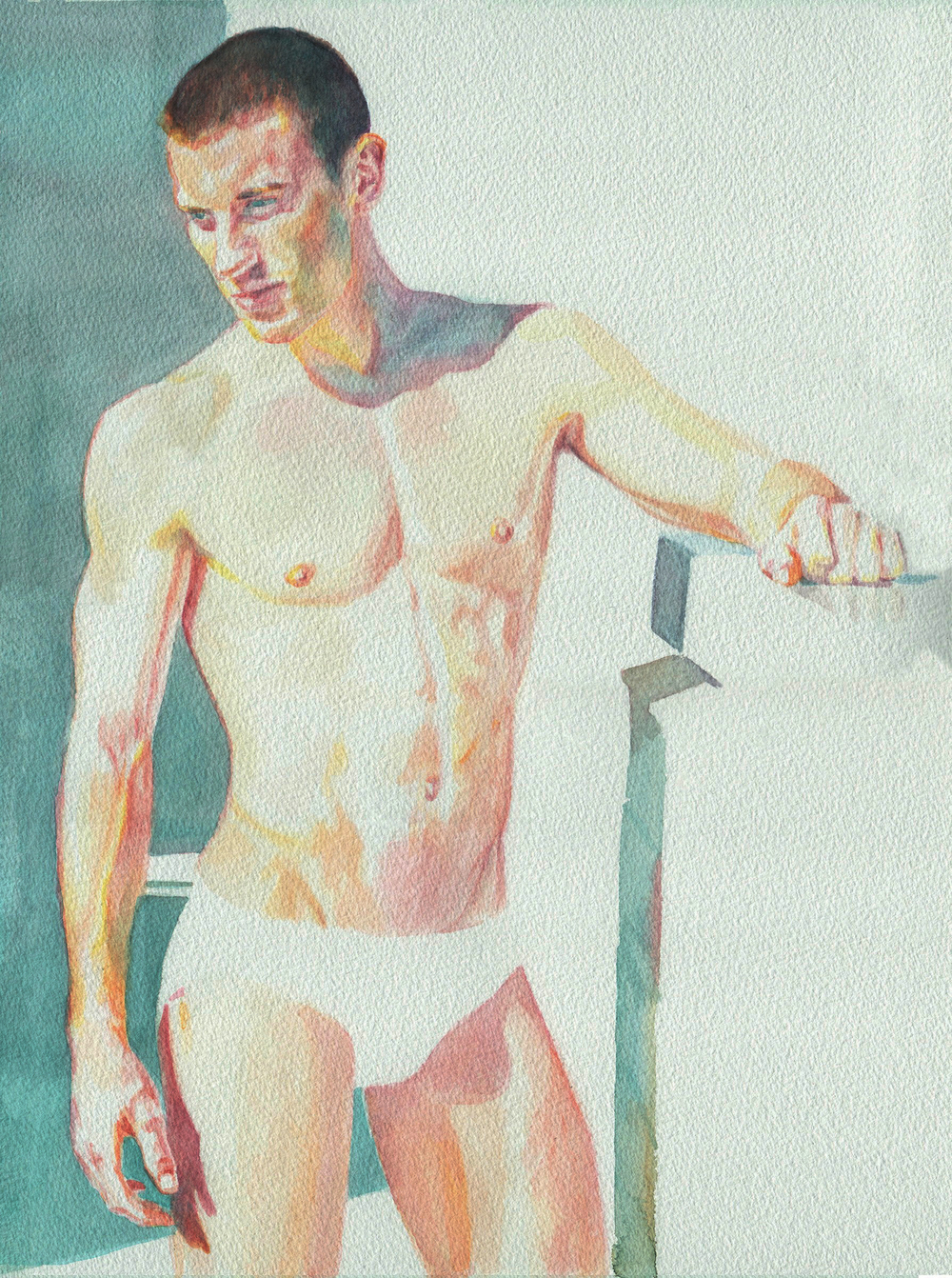 "Leaning David   12"" x 16"" watercolor on paper"