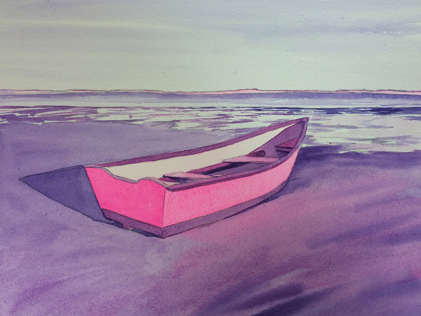 And diverge a bit.  I'm listening to NPR's coverage of the Syrian refugee crisis and can't help think about the symbolism of the boat I'm painting a bit differently. Mon Refuge En Rose...