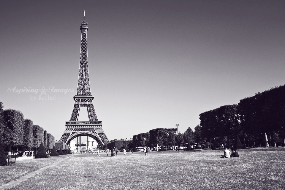 Paris - Eiffel Tower in Black and White by Aspiring Images by Rachel