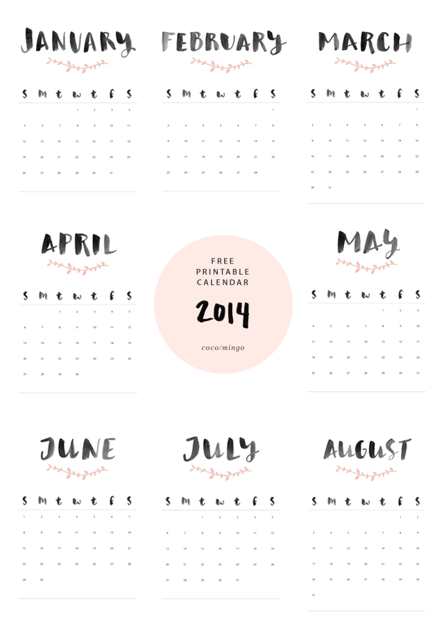 Download Print Full 2014 Year Calendar The Letter Muse