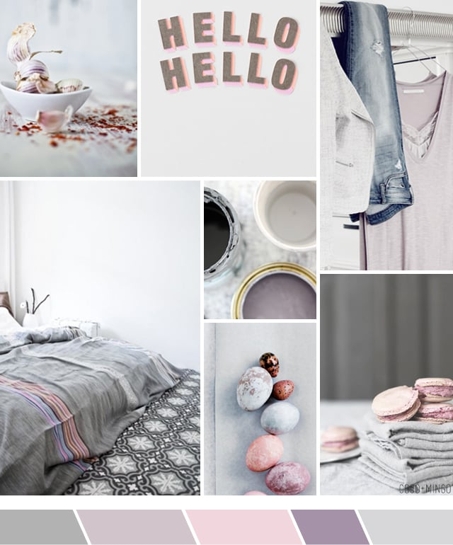 inspiration, moodboard, color palette, pink, grey