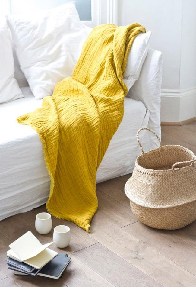 yellow throw blanket #home #interiors #color