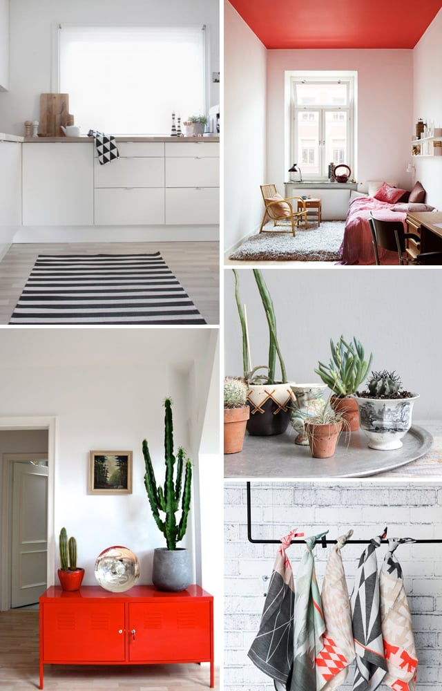 Home inspiration: Poppy red, geometric prints, cacti inspiration