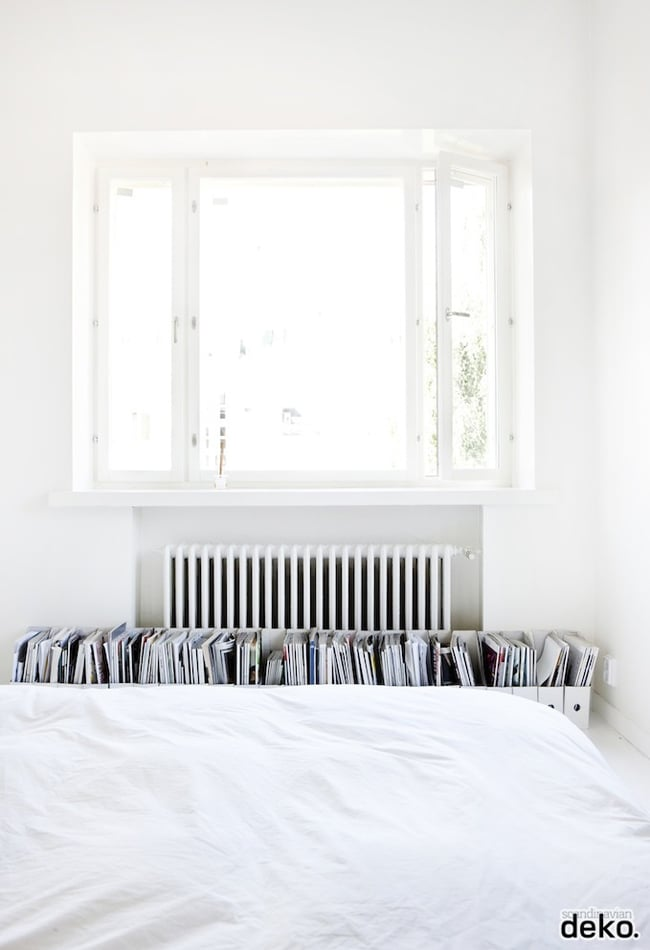 magazine rack in white bedroom #home #interiors #decor