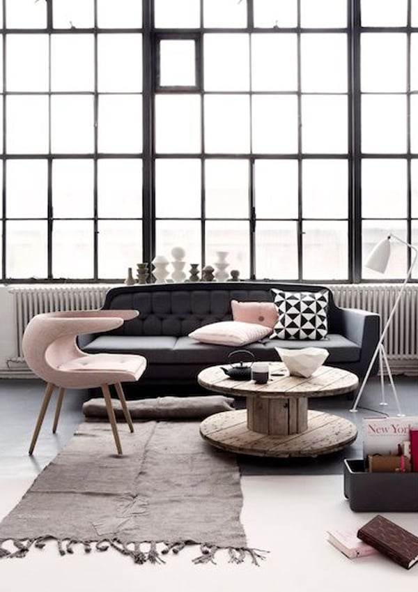 pink, black, white home interiors