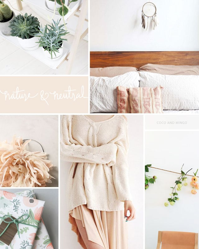 nature and neutral inspiration board via Coco and Mingo