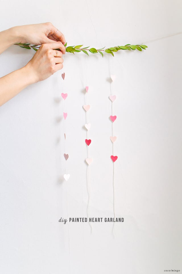 DIY painted heart garland_valentine's day