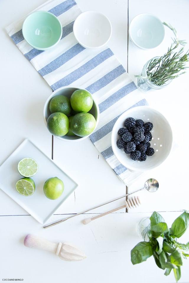 Blackberry basil gin fizz