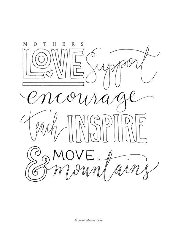 Mother's day 2014, print, cards, hand lettering, calligraphy, Peter Loves Jane, free download