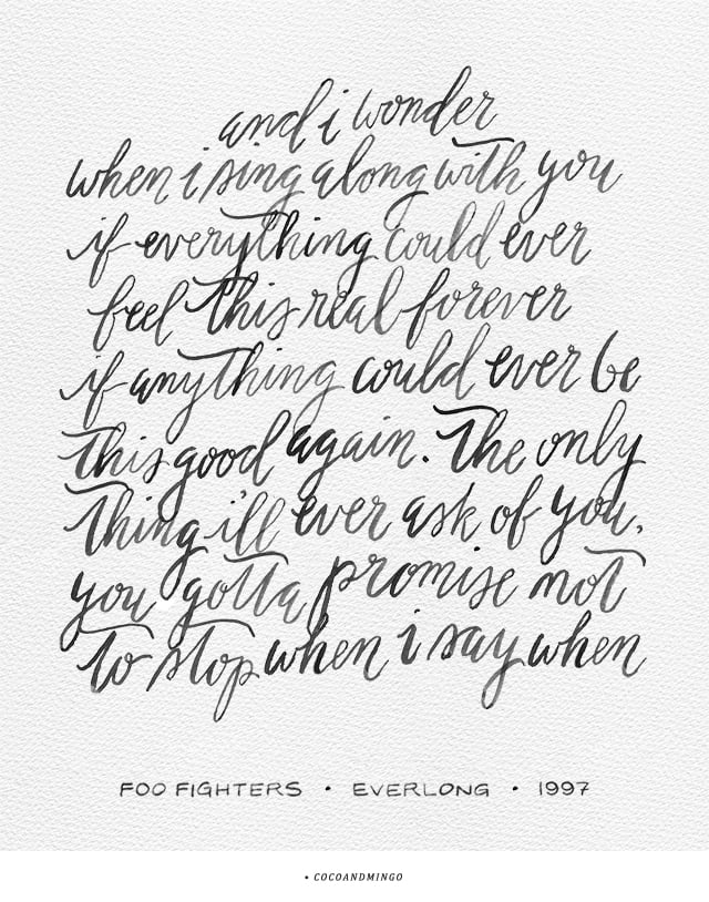 Foo Fighters, Everlong, 1990s, lyrics