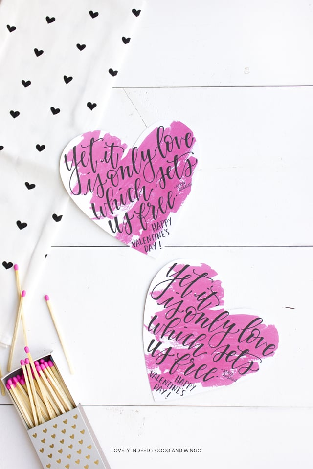 Printable Valentine's day card, freebies, paper products, calligraphy, hand lettering