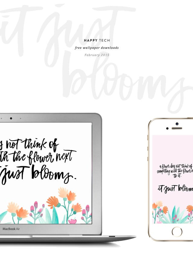 Free download, printable, desktop wallpaper, happy tech, hand lettering, calligraphy, watercolor, illustration, February 2015