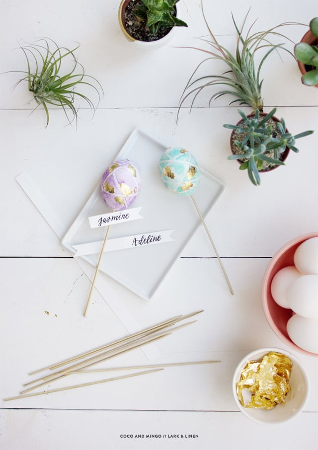 Easter 2015, DIY Easter ideas, place cards, DIY watercolor eggs, Lark & Linen