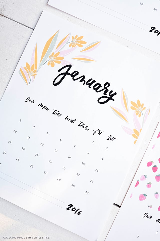 Delighful 2016 Printable Desk Calendar Freebies Download Hand Lettering Calligraphy Artwork For Decor