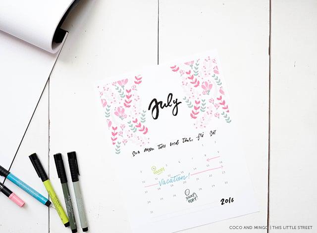 Printable Calendar, 2016 Calendar, freebies, download, hand lettering, calligraphy, artwork, design, new year, office, desktop