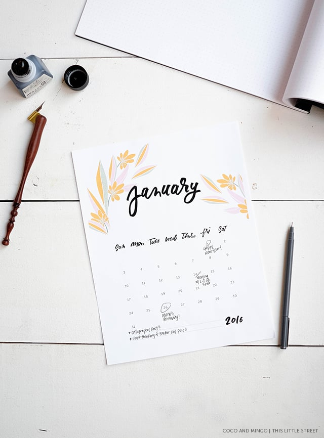 Printable Calendar, 2016 Calendar, freebies, download, hand lettering, calligraphy, artwork, design, new year, office, desktop