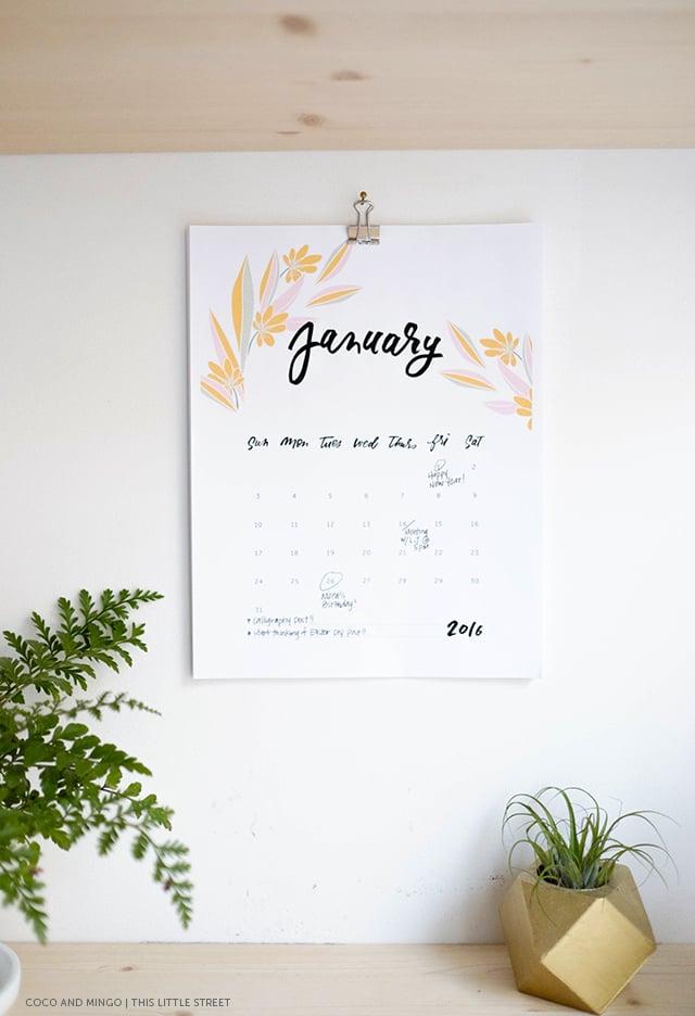 For the new year // 2016 Printable Calendar (Free!) — Jessica Keala