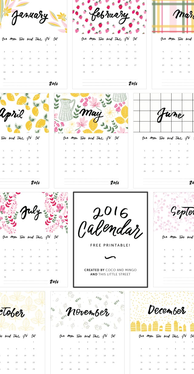 Printable Calendar, 2016 Calendar, freebies, download, hand lettering, calligraphy, artwork, design, new year, office
