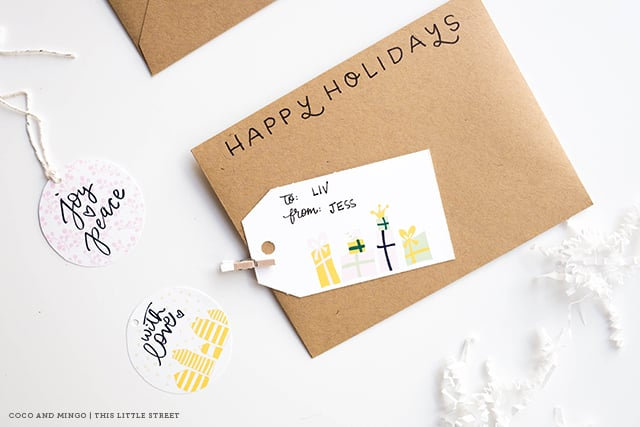 Holiday tags, free printable, freebies, Christmas, New Years, tags, stickers, gift ideas, decor, decoration, hand lettering, calligraphy, holiday season 2015, Avery templates
