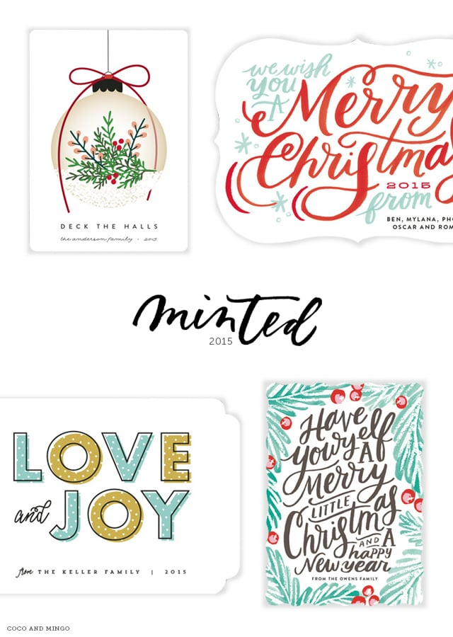 Minted, stationary, art, home, gifts, Minted holiday cards, Christmas 2015, hand lettering, merry christmas, new years, happy holidays, love and joy