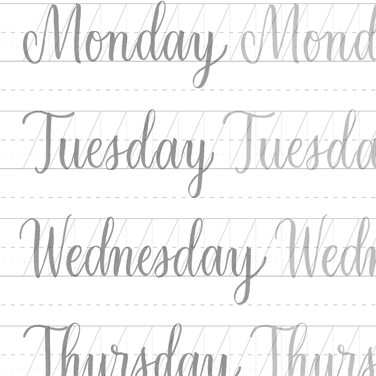 Printable worksheets calligraphy handwriting