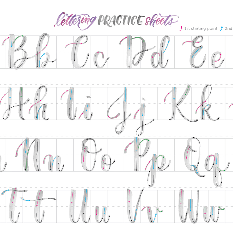 Receive An Instant And FREE Digital Download Of The Brush Lettering Practice Sheets In Olivia Upright Style Ideal For Beginners Or Anyone Beginning