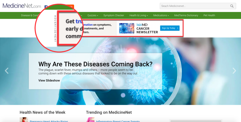 medicinenet with ublock origin ad-blocker failing