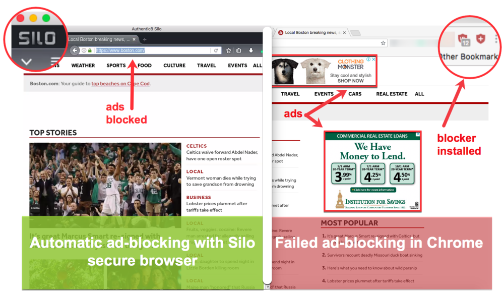 The window on the left is boston.com in Silo; on the right boston.com in Chrome.