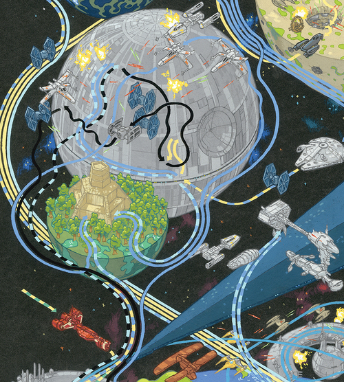 Cinemaps andrew degraff detail of death star i and the battle of yavin gumiabroncs Gallery