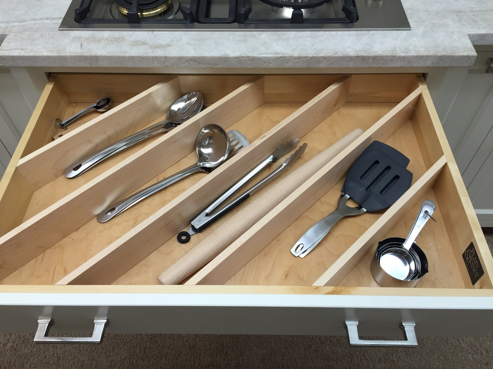 Custom Utensil Divider by Plain & Fancy Custom Cabinetry (Photo Credit: Robinwood Kitchens)