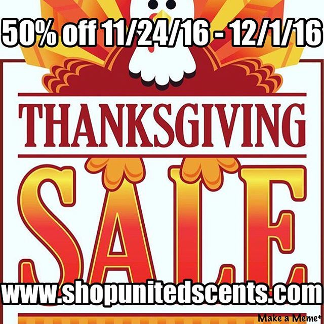 We're so thankful for all our friends, family and followers. We want to give back to you! Use Code BLACKFRIDAY to receive 50% off our entire site. www.shopunitedscents.com #blackfriday #thankful #shopsmall #turkeyday