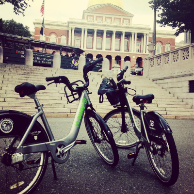 Our first and last stop on the Freedom Trail by bike...the State House.