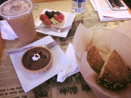 Goodies from our pit stop at the Thinking Cup...YUM!