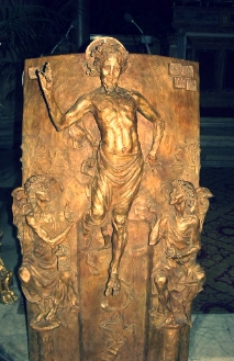 This is a podium in the Pantheon, my husband thought it looked like Jesus finishing a marathon...