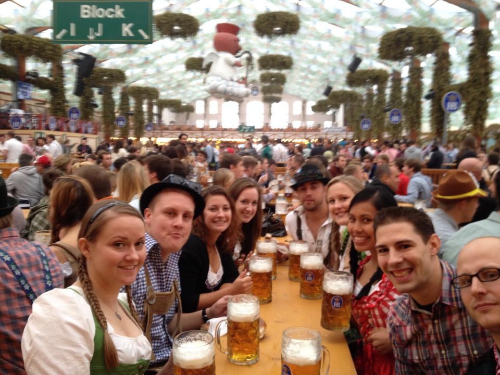 On this excursion I am with a group of friends in the Hofbrauhaus tent