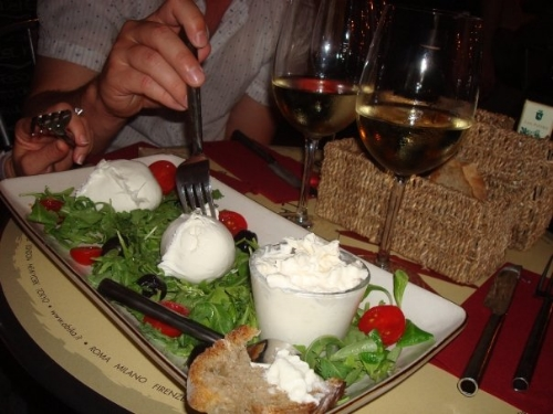 Obica is a delicious mozzarella bar in Campo dei Fiori! The cheese in the cup is the creamy deliciousness I speak of.