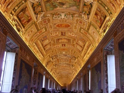 The halls of the Vatican museums are literally lined with gold.