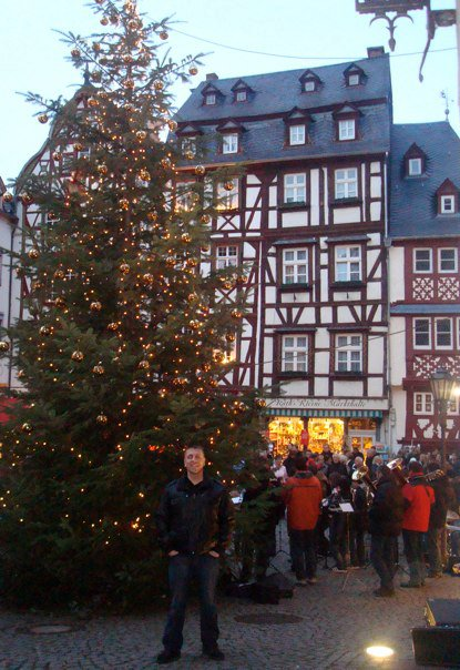 The beautiful Christmas tree in the quaint town of Bernkastel, Germany
