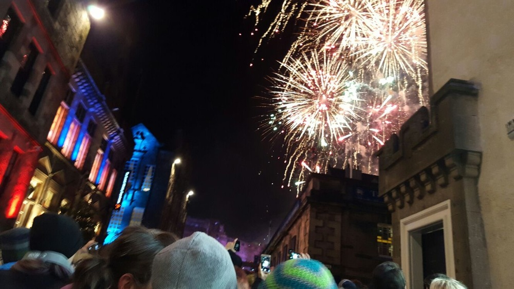 Our view of the fireworks display from the Royal Mile