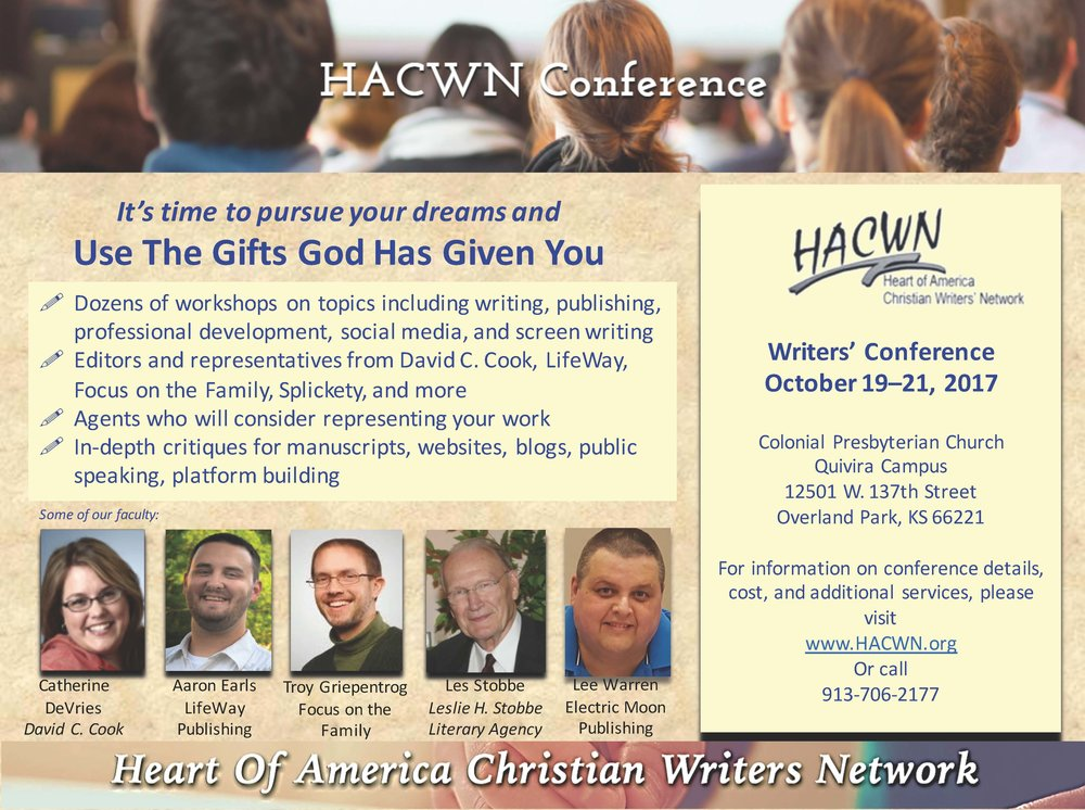 Electric Moon Publishing, LLC - will be represented by editor, Lee Warren, at the HACWN this year. Lee's experience spans from sports journalism to traditionally published non-fiction. He has been an EMoon team member for close to three years and we are pleased to ship him south to meet authors at this stellar Christian writers' conference.