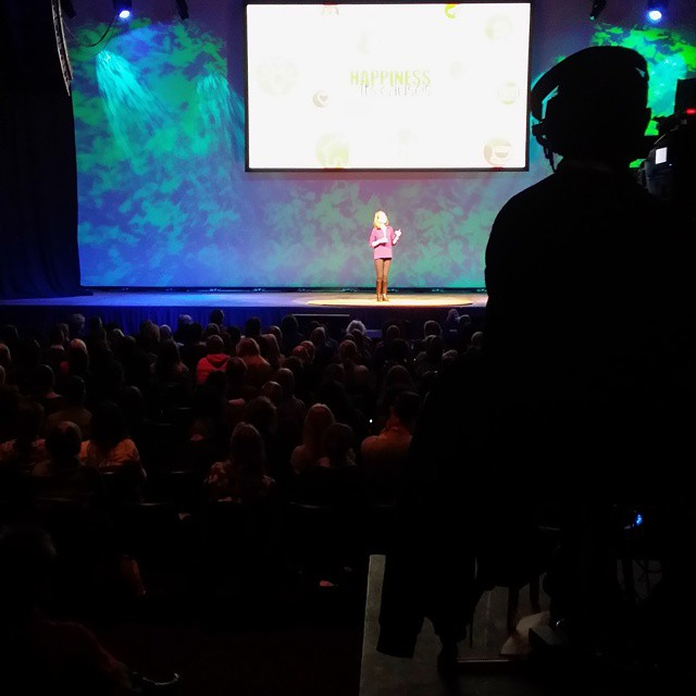 Not a great shot but #gretchenrubin live onstage. How is your #happinessproject going? #happyconf #happinessanditscauses #hapconf