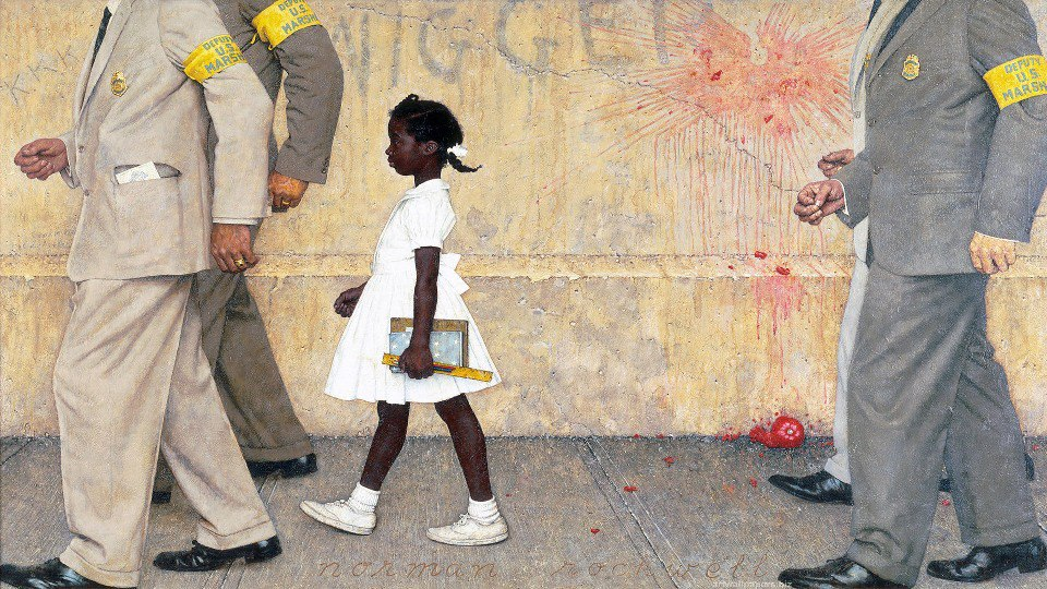 "amightygirl: Today in Mighty Girl history, six-year-old Ruby Bridges walked into William Frantz Elementary School in New Orleans surrounded by a team of U.S. Marshals; thus, becoming the first African-American child to desegregate an all-white elementar y school in the South. When Ruby arrived at school that first day in 1960, an event commemorated by Norman Rockwell in his famous painting ""The Problem We All Live With,"" she was met by a vicious mob shouting and throwing objects at her.  One of the federal marshals, Charles Burks, who served on her escort team, recalls Ruby's courage in the face of such hatred: ""For a little girl six years old going into a strange school with four strange deputy marshals, a place she had never been before, she showed a lot of courage. She never cried. She didn't whimper. She just marched along like a little soldier. We were all very proud of her."" Once Ruby entered the school, she discovered that it was devoid of children because they had all been removed by their parents due to Ruby's presence. The only teacher willing to have Ruby as a student was Barbara Henry, who had recently moved from Boston. Ruby was taught by herself for her first year at the school due to the white parents' boycott.  Despite daily harassment, which required the federal marshals to continue escorting her to school for months; threats towards her family; and her father's job loss due to his family's role in school integration, Ruby persisted in attending school. The following year, when she returned for second grade, the mobs were gone and more African-American students joined her at the school. The pioneering effort to integrate schools in the South was a success due to Ruby's amazing courage, perseverance, and resiliency. If you'd like to share Ruby's inspiring story with the children in your life, there are three excellent resources to help you do so, including the wonderful picture book ""The Story Of Ruby Bridges"" (http://www.amightygirl.com/the-story-of-ruby-bridges) for readers 4 to 8 and the highly recommended memoir that Ruby Bridges wrote for young readers from 6 to 12 entitled ""Through My Eyes"" (http://www.amightygirl.com/through-my-eyes). Disney also made a terrific film about her story called ""Ruby Bridges"" for viewers 7 and up (http://www.amightygirl.com/ruby-bridges). To give young readers more insight into the school integration struggle, Nobel Prize-winning author, Toni Morrison, has written an outstanding book, that's filled with photos capturing the major desegregation events of the period, entitled ""Remember: The Journey to School Integration"" (http://www.amightygirl.com/remember-the-journey-to-school-integration) — recommended for ages 9 and up. I think everything this blog posts is so good to read…"