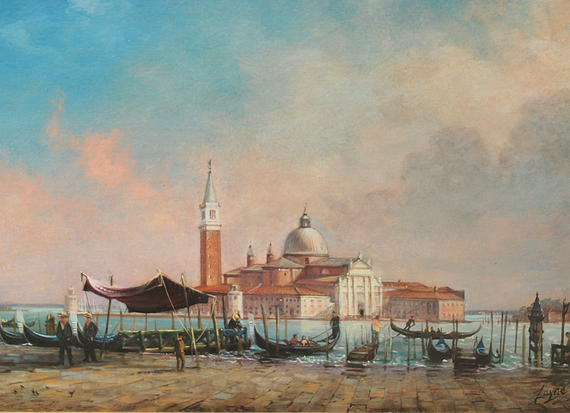 PETER ARGUIMBAU    Venice    Artists depiction of San Giorgio Maggiore church during his time living in Venice.  18 x 30 inches