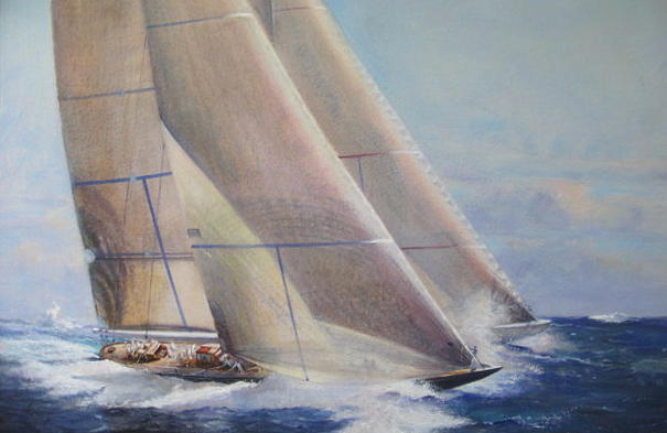 "Ranger and Velsheda - Antigua Race Week 2012, 30"" x 40"", $25,000 - Peter Arguimbau"